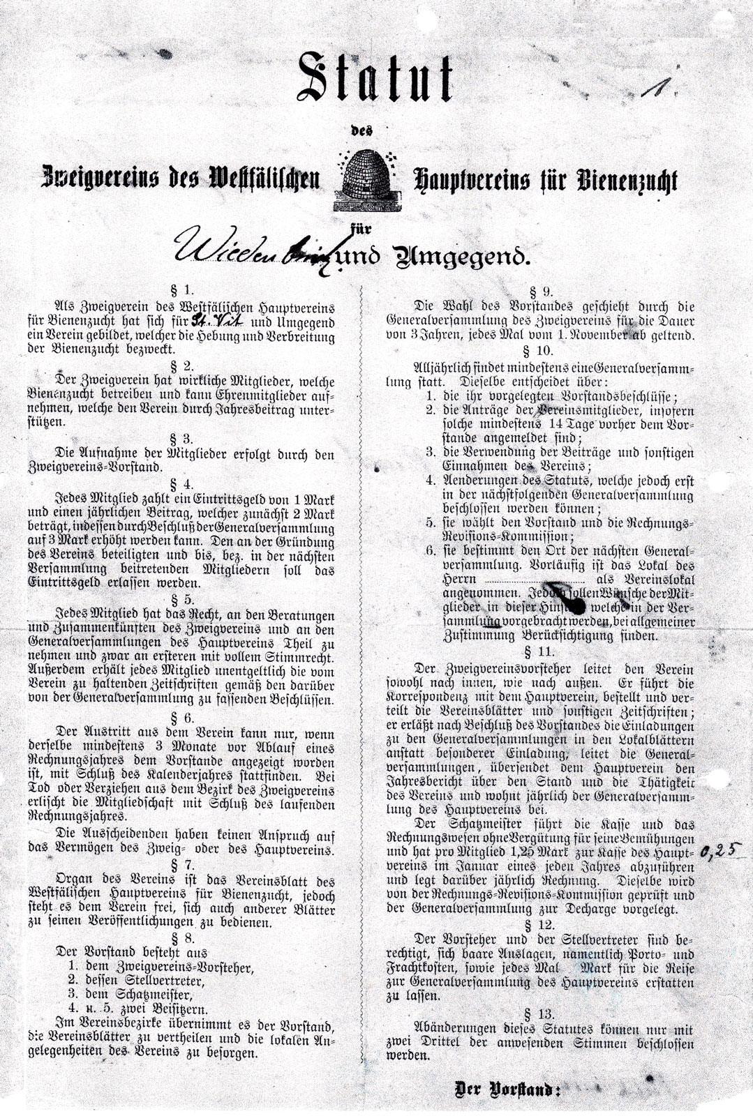Statut Imkerverein Wiedenbrück 1894